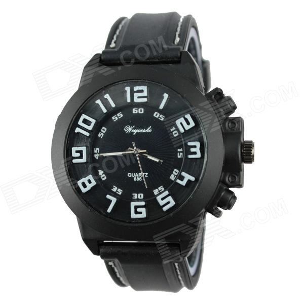 WeiJieShi Men's 3D Digital Style Silicone Band Analog Quartz Wrist Watch - Black + White (1 x 377)