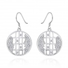 Stylish Skeleton Couples' Faces Pattern Silver Plated Zircon Earring - Silver (2 PCS)