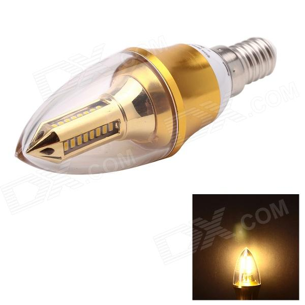 JoYda LJ4 E14 4W 320lm 3000K 32-SMD 3014 LED Warm White Light Candle Lamp - Golden (AC 85~265V) e14 4w 220lm 6500k 50 smd 3014 led white light candle lamp bulb white ac110 220v