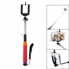 Universal 3.5mm Plug Self-Timer Monopod w/ Remote Controller for iOS and Android - Red + Orange