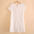 Women's Short Sleeve Lace Party Loose Mini Dress - White (M)