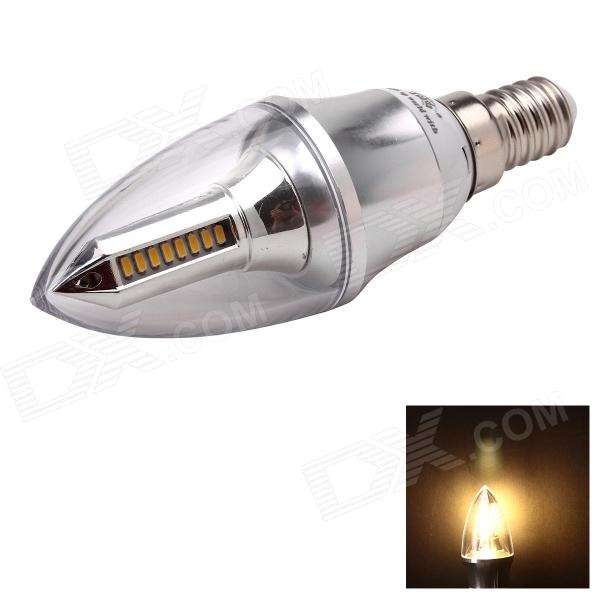 JoYda LJ4 E14 4W 320lm 3000K 32-SMD 3014 LED Warm White Light Candle Lamp - Silver (AC 85~265V) e14 4w 220lm 6500k 50 smd 3014 led white light candle lamp bulb white ac110 220v