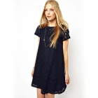 Women's Short Sleeve Lace Party Loose Mini Dress - Black (M)