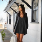 Women's Loose Sexy Casual V Neck Flare Hem Mini Dress - Black (M)