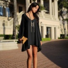Women's Loose Sexy Casual V Neck Flare Hem Mini Dress - Black (L)
