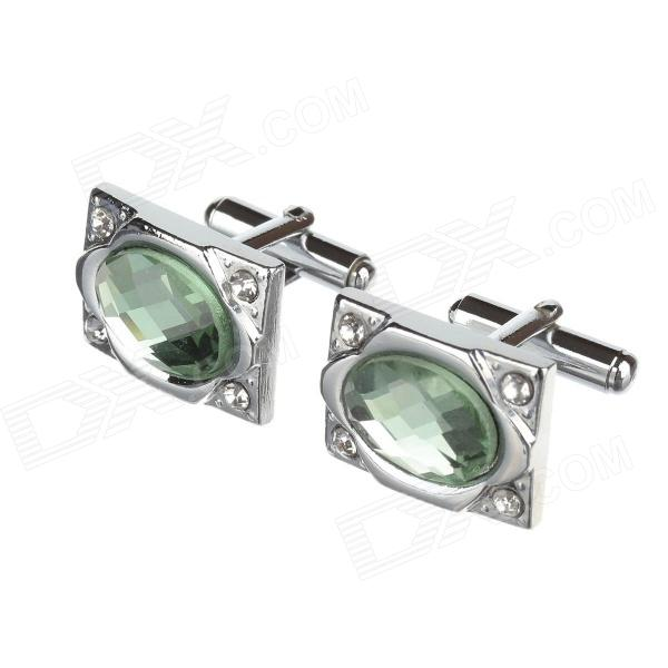 Men's Fashionable Business Rhinestone Studded Cuff-Link - Green +Sliver (2 PCS)