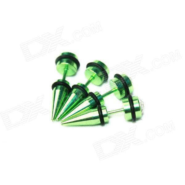 ME-002 Men's Titanium Steel Punk Conical Rhinestone Inlaid Stud Earring - Green