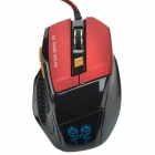 RONGQINGXIANG 2000DPI USB 2.0 6-Key Wired 6D Optical LED Gaming Mouse - Black + Red