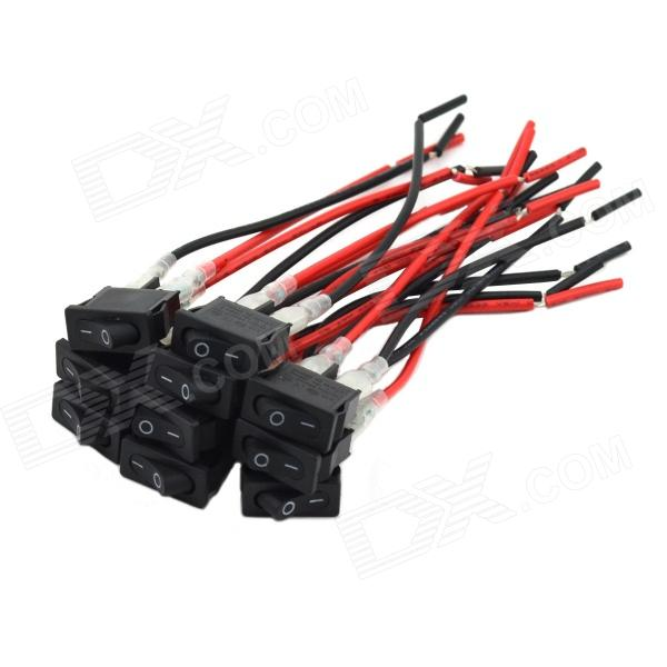 MaiTech DIY Car ON / OFF Rocker Switch - Black + Red (10 PCS/ 12V) maitech 12 x 8mm 63v100uf electrolytic capacitors black 10 pcs