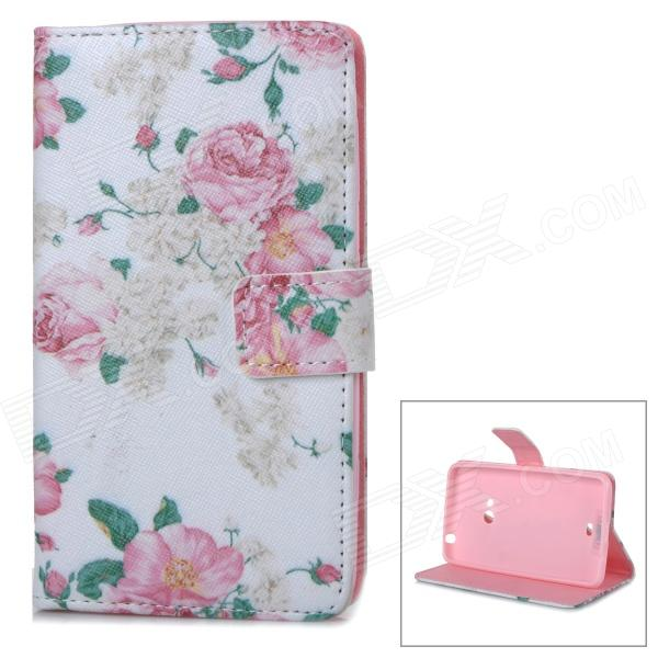 IKKI Flower Pattern Flip-Open PU Case w/ Stand + Card Slot for Nokia N625 / 625H / Lumia 625 - White