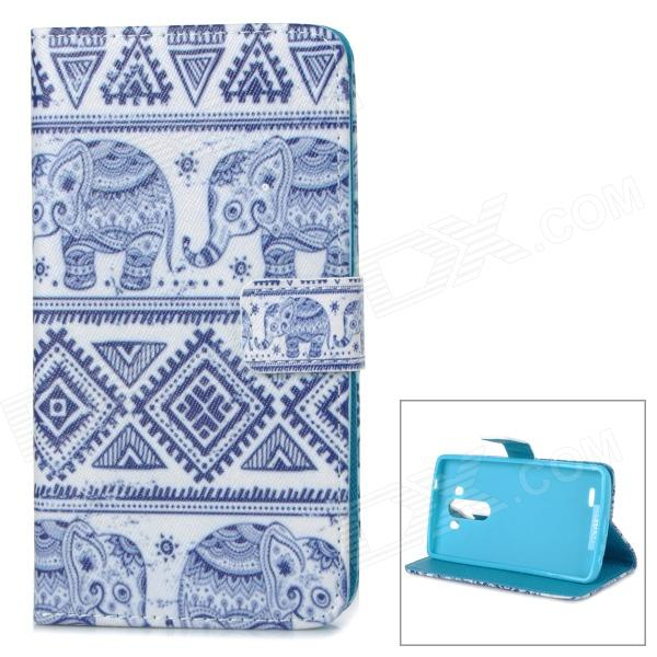 IKKI Elephant Pattern Protective Flip-Open PU Case w/ Stand + Card Slot for LG G3 / D855 - Deep Blue