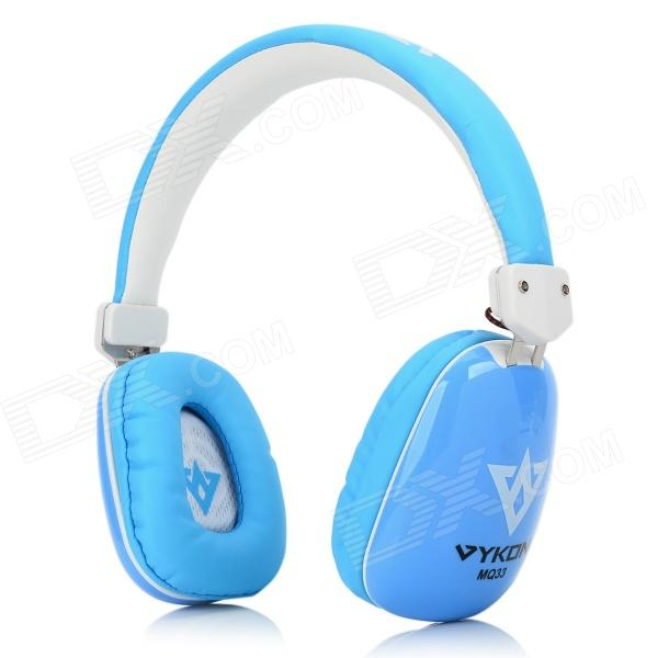 VYKON MQ33 3.5mm Wired Headband Headphone w/ Microphone for IPHONE / IPAD + More - White + Blue vykon me777 usb computer headphone w microphone black red