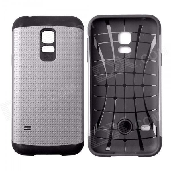 Fashionable Armor Style Protective PC + Silicone Back Case for Samsung Galaxy S5 Mini - Grey + Black 8x zoom telescope lens back case for samsung i9100 black