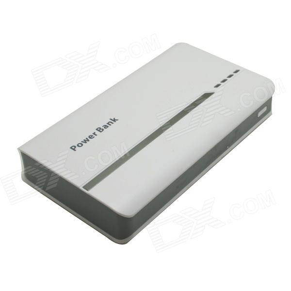 Portable Universal 15000mAh Li-ion Battery Dual USB Power Bank - White + Light Grey sony cp s15 s 15000 mah