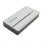 Portable Universal 15000mAh Li-ion Battery Dual USB Power Bank - White + Light Grey