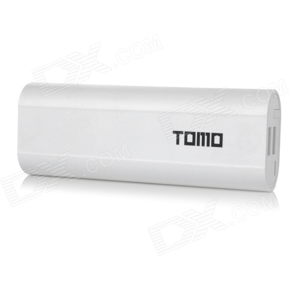 TOMO V8-2 5V Dual USB 6000mAh Li-ion Battery Power Bank for IPAD / IPHONE / PSP - White portable universal dual usb 5v 6000mah li ion battery power bank white green