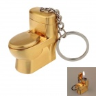 Creative Toilet Style Grinding Wheel Zinc Alloy Gas Lighter w/ Keyring - Golden