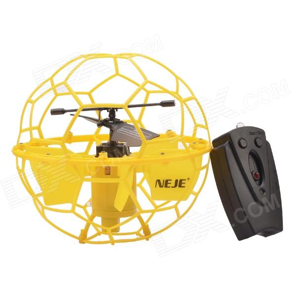 NEJE ST0002-1 2-CH 2.4GHz IR Remote Control R/C Flying Ball - Yellow (3 x AG13) xinlin shiye x123 3 5 ch r c infrared control helicopter black yellow