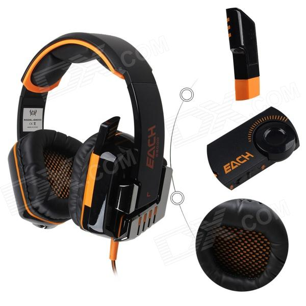 Each G8000 Stereo Pro Gaming USB + 3.5mm Plug Headphone w/ Microphone - Orange + Black (2.2m-Cable)
