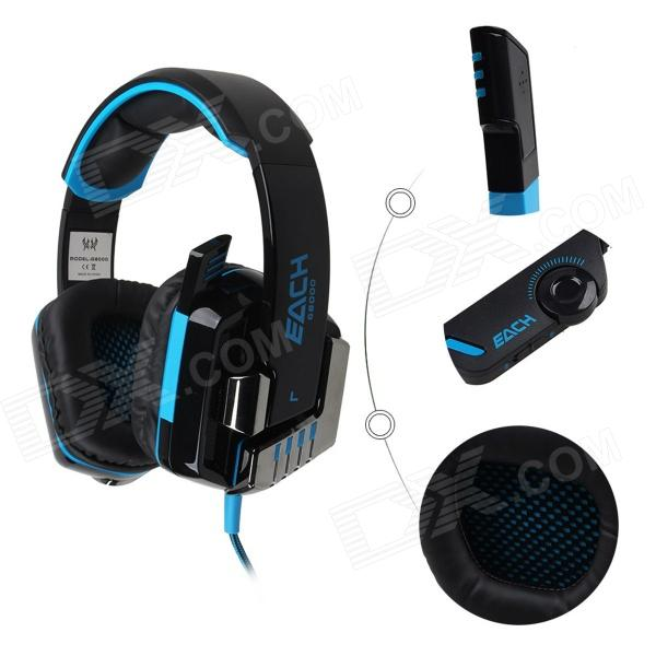 Each G8000 Stereo Pro Gaming USB + 3.5mm Plug Headphone w/ Microphone - Black + Blue (2.2m-Cable) casual shorts modis m181s00217 men cotton shorts for male tmallfs