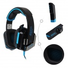 Each G8000 Stereo Pro Gaming USB + 3.5mm Plug Headphone w/ Microphone - Black + Blue (2.2m-Cable)