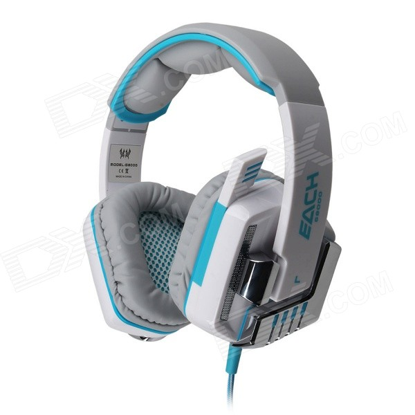 Each G8000 Stereo Pro Gaming USB + 3.5mm Plug Headphone w/ Microphone - White + Blue (2.2m-Cable) g1100 3 5mm pro gaming headset headphone for ps4 laptop crack pattern led led blue black red white