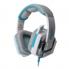 Each G8000 Stereo Pro Gaming USB + 3.5mm Plug Headphone w/ Microphone - White + Blue (2.2m-Cable)