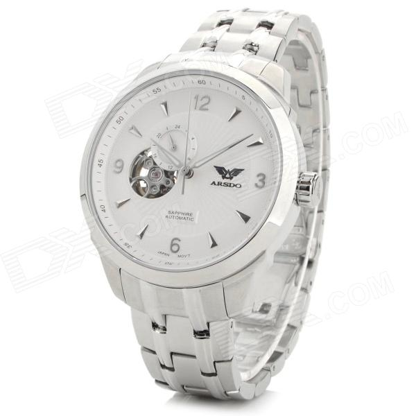 ARSDO A8202G Men's Fashion 316L Stainless Steel Band Analog Mechanical Watch - Silver + White 44mm 316l steel parnis watch case fit 6498 6497 eat movement c35
