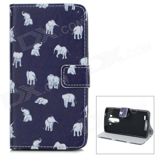 Cute Elephant Pattern Flip Open PU Leather Case w/ Stand / Card Slots for LG G3 / D855 - Deep Blue