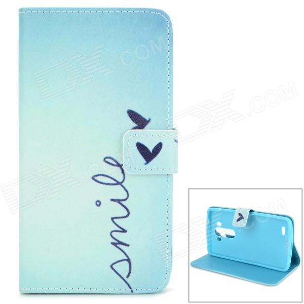 Love Heart Pattern Stylish Flip Open PU Case w/ Stand / Card Slots for LG G3 / D855 - Light Blue