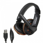 OVLENG Q5 Super Bass USB 2.0 Wired Headphone w/ Sound Card / Microphone - Black + Orange (210cm)