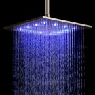 "YDL-BD005-1 16"" Temperature Control 24-LED RGB Light 304 Stainless Steel Square Shower Head - Silver"