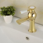 YDL-F-0576 Fashionable Gold-plated Brass Bathroom Basin Faucet - Golden + White