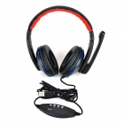OVLENG Q5 USB 2.0 Wired Headband Headphone w / microfone - preto + azul