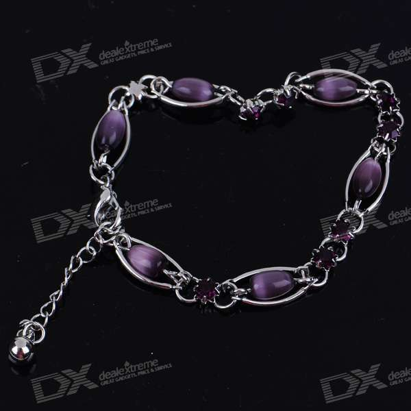 Purple Opal Crystal Alloy Bracelet (20.5cm)