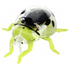 Plastic Solar Powered Ladybird Toy w/ Motor - Green + Black + Multi-Color
