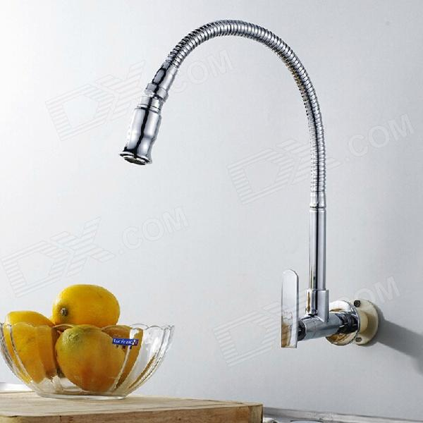 YDL-F-0584 Wall Type Arbitrary Rotating Chrome-plated Brass Kitchen Sink Faucet - Silver kitchen faucets black oil brushed rotating copper crane kitchen sink faucet hot and cold water brass taps kitchen mixer tap