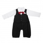 HY077 Baby's Cute Bow Tie Style Long-sleeved Cotton + Dacron Romper - Black + White (Size L)