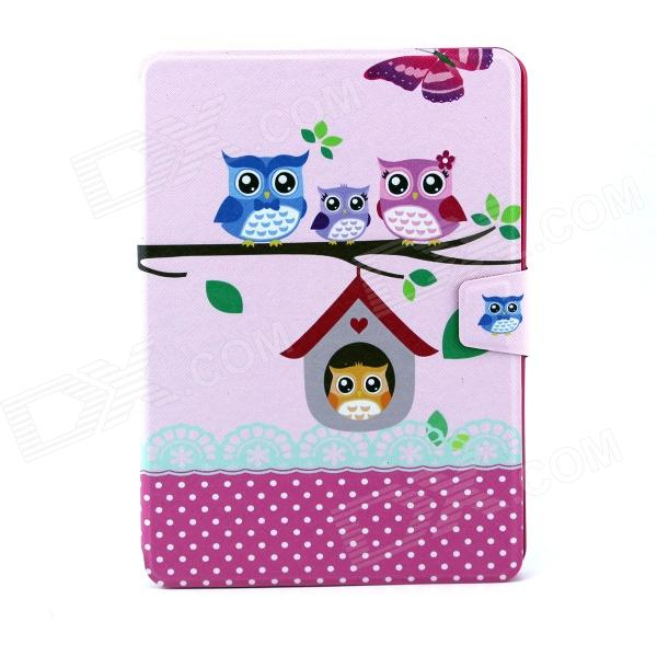 Owls Family Pattern PU Leather Flip-open Full Body Case w/ Stand for IPAD AIR - Deep Pink + Pink funny moustaches pattern pu leather flip open case w stand for ipad 2 the new ipad ipad 4