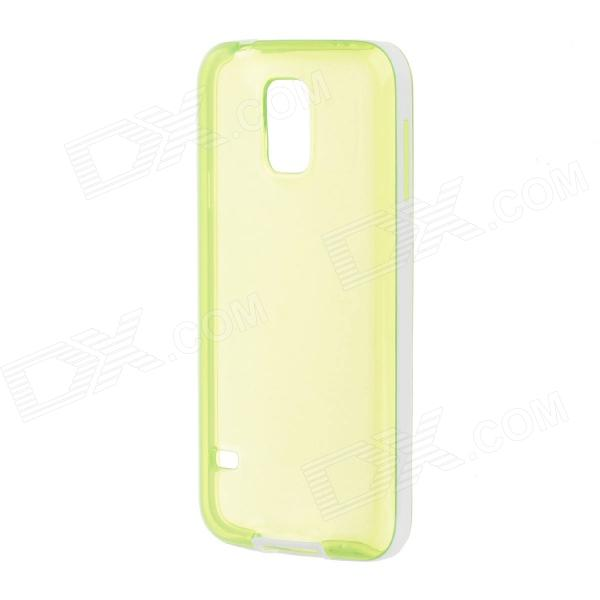 Protective Stylish Phone TPU Case for Samsung Galaxy S5 - Translucent Green + White protective silicone case for nds lite translucent white