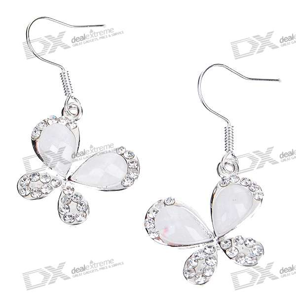 Crystal Butterfly Silver Plated Earring (Pair) charming plum blossom silver plated earring pair