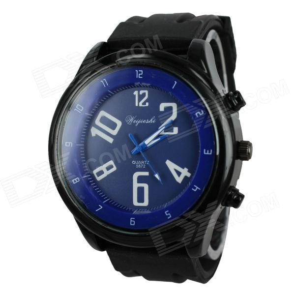 Sport Men's Ocean Style Black Case Silicone Band Quartz Wrist Watch (1 x 377)