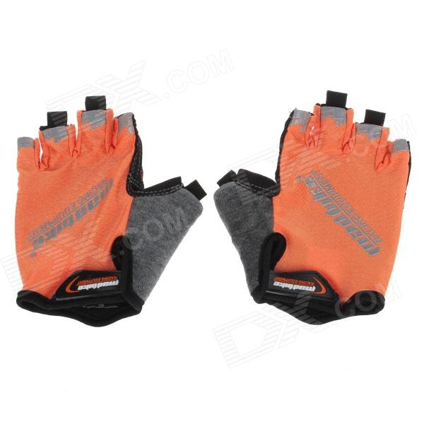 Mad Bike SK-01 Outdoor Cycling Half-Finger Gloves - Orange + Black + Grey (Size L) half finger gloves autumn and winter outdoor sports men and women riding fitness mountaineering slip tactical gloves black