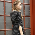 Chiffon Long Sleeve Slim Polka Dot Pattern Dress - Black (Size L)