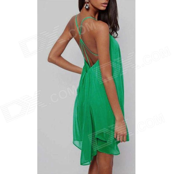 Pure Color Chiffon Sexy Back Cross-Strap Halter Dress - Green (Size M)