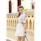 Chiffon Long Sleeve Slim Polka Dot Pattern Dress - White (Size L)