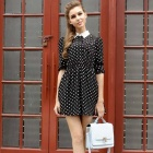 Chiffon Long Sleeve Slim Polka Dot Pattern Dress - Black (Size M)