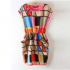 "Women""s Chic Colorful Geometric Pattern Sleeveless Round Neck Dress - Deep Pink (Size L)"