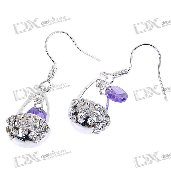 Crystal Flower Basket Silver Plated Earring (Pair) charming plum blossom silver plated earring pair