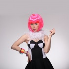 HG10-C17 Cosplay Party Makeup Fashionable Synthetic Short Hair Wig - Pink